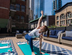 HGU New York Hotel's rooftop yoga