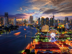 Bangkok, Thailand skyline at night