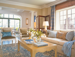 The Lowell's Penthouse Suite is spread over 3,000 square feet of space. Shown here is the living area of the suite.