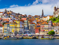 A view from the water of Porto's Old Town