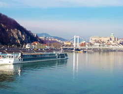 Image of the upcoming ship cruising the river near a bridge