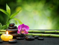 Spa - Purple orchid and bamboo on a table