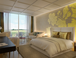 A shot of a bedroom at Royal Champagne