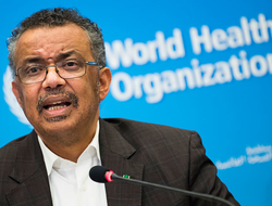 Tedros Adhanom Ghebreyesus, Director General of the World Health Organization (WHO), talks to the media at the World Health Organization headquarters in Geneva, Switzerland.