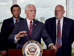 Vice President Mike Pence, center, along with Florida Gov. Ron DeSantis, left, and CDC Director Dr. Robert Redfield, right, speaks to the media after a meeting with cruise line company leaders to discuss the efforts to fight the spread of the COVID-19 cor