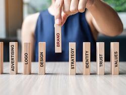 Marketing, Advertising, Logo, Design, Strategy, Identity, Trust and Values  - marketing wooden blocks
