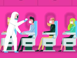 coronavirus testing on airplane graphic