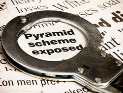 pyramid scheme exposed with handcuffs