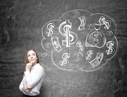 Successful woman thinking about money making ideas