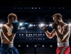 Boxer and MMA fighter in the ring