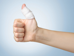 Bandaged thumbs up