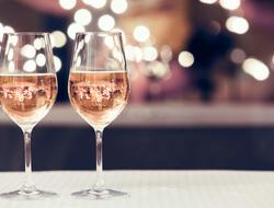 Rose wine goblets
