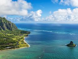 Aerial view of Kualoa Point and Chinamans Hat at Kaneohe Bay, Oahu, Hawaii, USA