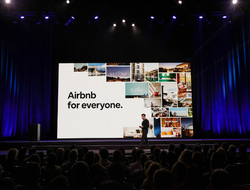 """Airbnb Co-Founder, CEO and Head of Community Brian Chesky talks the company's 10-year """"roadmap"""" at a keynote address in San Francisco."""