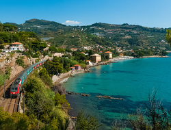 train in Ventimiglia Italy heading to the French Riviera