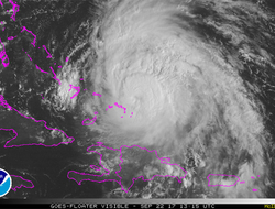 Satellite photo of Hurricane Maria's position as of Friday morning