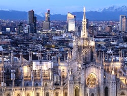 Milan skyline and Duomo Cathedral