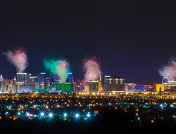 View of Las Vegas strip at night with firework display on New Year Day.