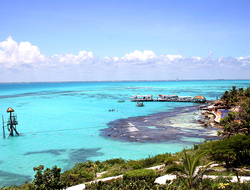 Aerial view of beach in Isla Mujeres Mexico