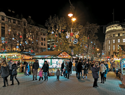 The Christmas Market on Vorosmarty Square in Budapest