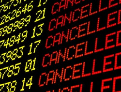Cancelled flights on airport board