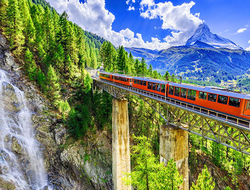 Switzerland's Gornergrat railway connecting Zermatt with the peak of the Gornergrat, with a view of the Matterhorn.