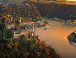 A Viking Longship on the Rhine, with Katz Castle in frame