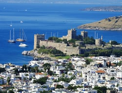 View of Bodrum harbor on the Turkish Riviera during a hot summer day