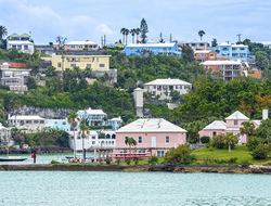 Colorful homes and hotels on this hillside in Hamilton, Bermuda.