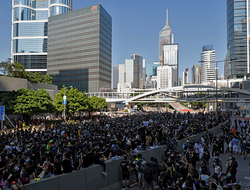 Protesters occupy the roads near the Legislative Council building and the Central Government building during the anti-extradition bill protest in Hong Kong.