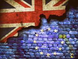 Illustration of British and EU flags symbolizing Brexit
