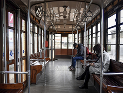 Empty tram in Milan, Italy due to Coronavirus