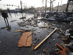 Debris covers a street after overnight storms in Nashville, TN.