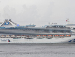 A view of the Caribbean Princess on the water