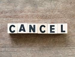 Cancel written in blocks