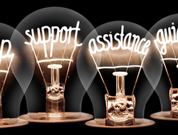 help / support / assistance / guidance / lightbulb