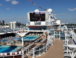 Sky Princess' Sky Suite with a perch over the Princess Cruises' pool deck and views to Movies Under the Stars. Photo by Susan J. Young. Editorial Use Only