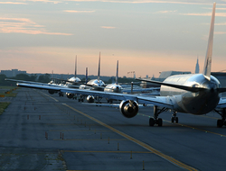 Airplanes taxied at JFK Airport