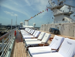 Oceania Cruises Sirena Loungers top deck Copyright by Susan J Young Editorial Use Only
