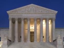 U.S. Supreme Court at night