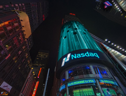 view of NASDAQ sign on building