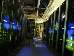 A dark room full of computer servers