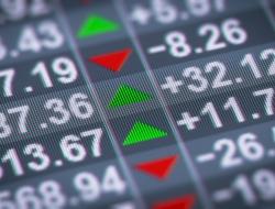 Closeup of stock prices