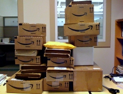 amazon shipping boxes on a desk