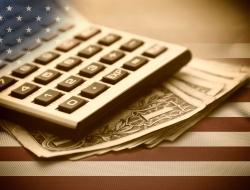 Calculator on American flag