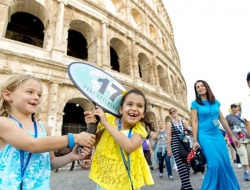Children on a Disney cruise outside the Colosseum in Rome
