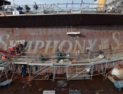 Symphony of the Seas, Royal Caribbean's newest Oasis-class ship, under construction at the STX shipyard in France.