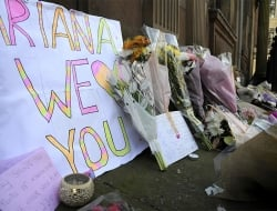 Flower tributes at St Ann's square, Manchester, England