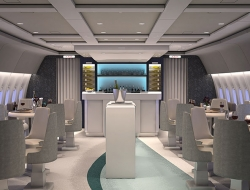 Interior view of the lounge on a Crystal AirCruises aircraft