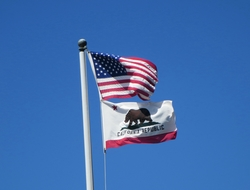 California flag and American flag